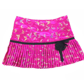 BETSEY JOHNSON Chinoiserie Oriental Brocade Satin Pink Pleated Mini Skirt Size Large 8
