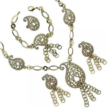 Gold Layered 06.59.0059 Necklace, Bracelet, Earring and Ring, Filigree Design, with White Crystal, Golden Tone