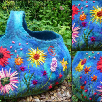 felted basket,storage, ornament,decoration, handmade, felted wool, felt, waldorf inspired, flowers, MADE TO ORDER