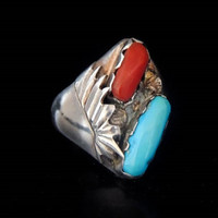 Turquois Silver Men's Ring Native American Signed Padilla