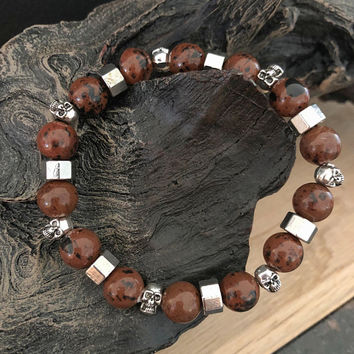 Men's Gemstone Bracelet, Men's Obsidian Bracelet, Men's Gemstone Bracelet, Men's Skull Bracelet, Men's Skull Jewelry, Gift for him