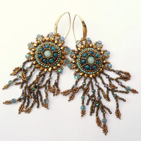 Amazonite & Blue Apatite Bronze Branch Fringe Earrings - Bead Embroidered Gemstone Drop Earrings