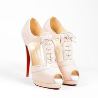 KUYOU Nude Christian Louboutin Leather Cut Out Lace Up  Meree 160  Heels