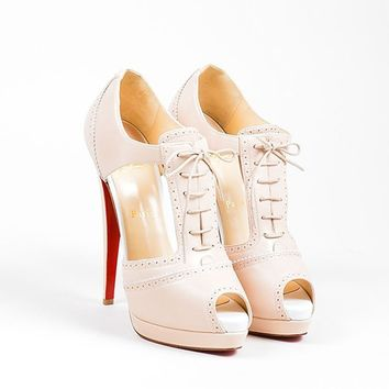 QIYIF Nude Christian Louboutin Leather Cut Out Lace Up  Meree 160  Heels