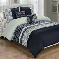 Chelsea Black 5-Piece Duvet Cover Set Embroidered 100% Cotton