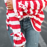 Red Striped Tie sleeves sweater