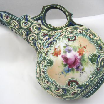 Moriage Nippon Pitcher Vase - Enamel over Porcelain