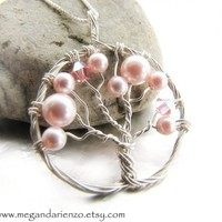 Cherry Blossom Necklace, Pink Pearl Tree of Life Necklace- Argentiu...... | megandarienzo - Jewelry on ArtFire
