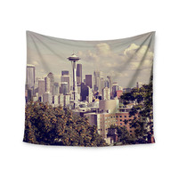 "Sylvia Cook ""Space Needle"" Beige Skyline Wall Tapestry"