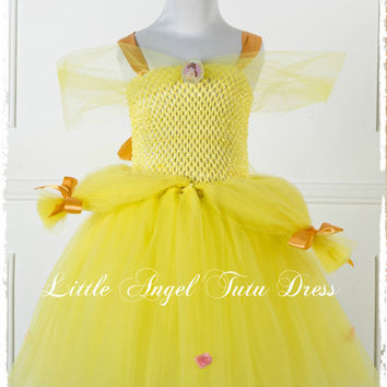 Belle Beauty and the Beast Girls Princess Dress, Disney Inspired Yellow and Gold Tulle Tutu Skirt ***FAST INTERNATIONAL SHIPPING***