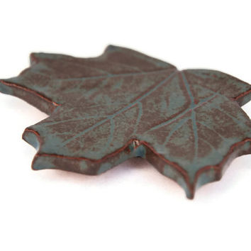 Ceramic Maple Leaf Magnet - handbuilt earthenware turquoise magnet home decoration red clay with teal glaze rusty brown ceramic leaf pottery