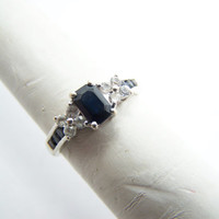 Sapphire Ring White Gold with Moissanite Flower accents September Birthstone ring size 6
