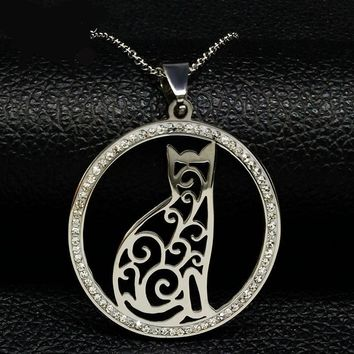 Fashion Cat Stainless Steel Necklace