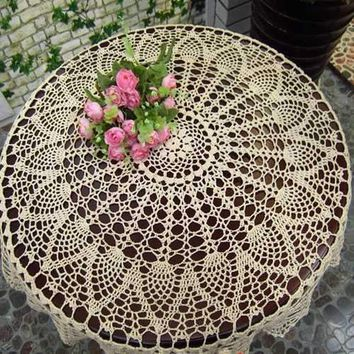 80cm White Hand Crochet Tablecloth