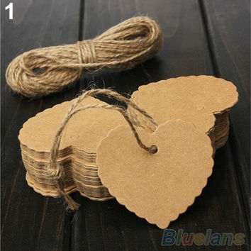 Vintage Blank Brown Kraft Paper Hang Tags Wedding Favor Label Gift Cards 100 [7982971719]