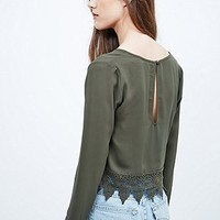 Ecote Crochet Trim Top in Olive - Urban Outfitters
