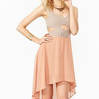 Pink Cut Out Chiffon Midi Dress