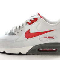 Nike Air Max 90 Men s Base Gray Red Black Running Gym Trainers Shoes 6a505960f6aa