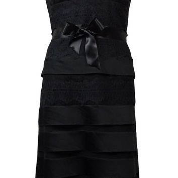 JS Collections Women's Belted Satin Tier Lace A-Line Dress
