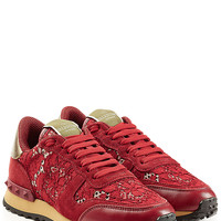 Valentino - Rockrunner Leather and Lace Sneakers