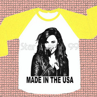 Made In The USA Demi Lovato Shirt Demi Lovato TShirt Rock Shirt Yellow Sleeve Long Sleeve Women Shirt Unisex Shirt Baseball Shirt Size S,M,L