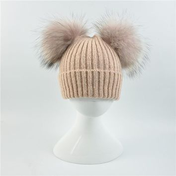 Baby winter Two Real Fur Hat Kids Knitted Wool Hat with Raccoon Fur Pom Pom Cap Autumn Cashmere Double Fur Ball Hat for Children