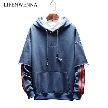 Autumn New Fashion Striped Men's Sweatshirts 2015 Casual Letter Embroidery Pullover Hooded Hoodies Men Plus Size Sweatshirt 5XL