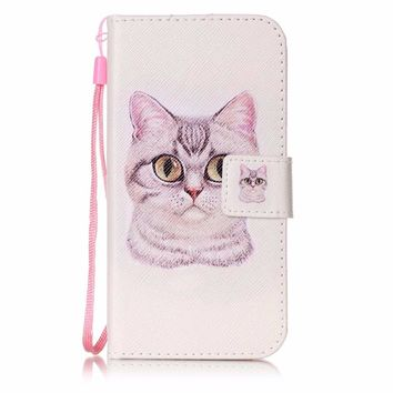 For Samsung Galaxy S5 Painting flower cat pattern PU Leather case Flip wallet card slot holder mobile phone shell
