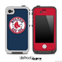 Navy Blue and Red with Boston Red Sox Logo Skin for the iPhone 4/4s or 5 LifeProof Case