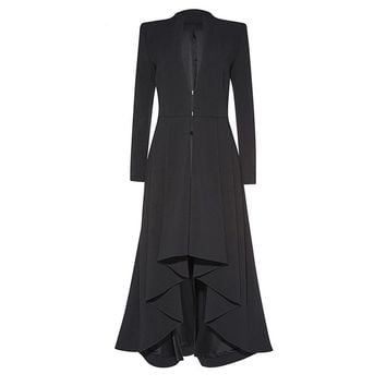 Gothic Maxi Coat Asymmetric Black Autumn Outerwear Women Trench Wave Cut Overcoat Fashion Elegant Office Lady Goth Coats