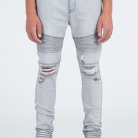 Moto Skinny Fit Gray Denim Jeans