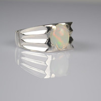White Opal Ring Sterling Silver Genuine Gemstone Size 9.75 (Re-sizing is available for free)