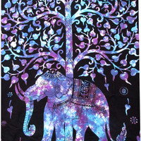 Elephant TreeTapestry, Twin Multi Tye Dye Tapestry Wall Hanging, Indian Tapestry, Hippie Tapestry, Bohemian Throw Ethnic Home Decor