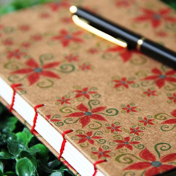 POINSETTIA - Christmas Journal - Handmade Hard Cover Journal - Stocking Stuffer - A6 - Free Shipping