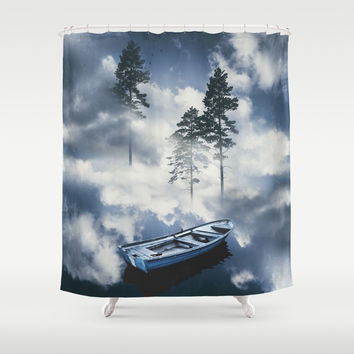 Forest sailing Shower Curtain by happymelvin