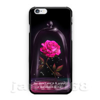 Beauty and the Beast Red Rose Glass For iPhone 6s 6s+ 7 7+ Print On Hard Case
