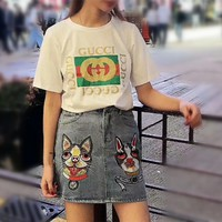"""Gucci"" Women Casual Fashion Shiny Letter Print Short Sleeve T-shirt Dog Head Embroidery Denim Skirt Set Two-Piece"