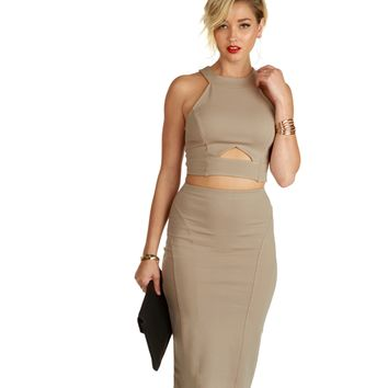 Taupe Noteable Crop Top