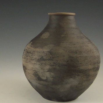 ONE small black smoked bottle, primitive pottery, native american inspired pottery, 5 1/4 inches
