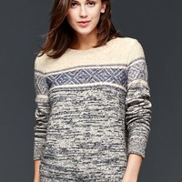 Gap Women Marled Mixed Pattern Pullover Sweater