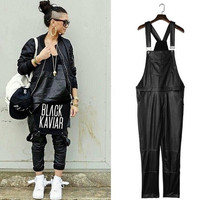 2016 Harajuku Men Pants Fashion Jumpsuit Straight Designer Black PU Slim Fit Pant Faux Leather Pants For Men Overalls Trousers