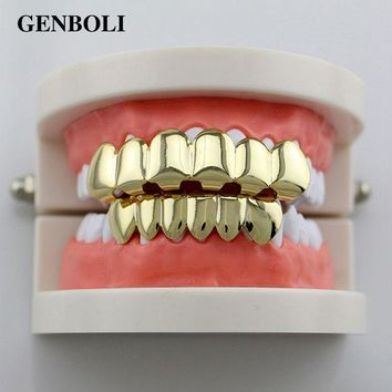 DKF4S GENBOLI Gold-color Silver Plated Hiphop Hip Hop Teeth Grillz Caps Top & Bottom Teeth Grills Set + 2pcs Silicone Pad Body Jewelry