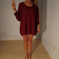 Maroon Knit Sweater Dress XS S M L Mini Lace Batwing Sleeves Boho Hippie Gypsy Club Kid Acid Grunge 90s Hipster Bohemian Festival Tunic Top