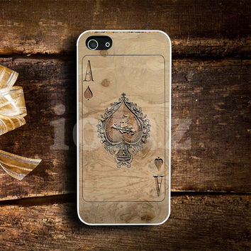 Vintage Poker Card Spade Ace  wood Pattern Design mobile Phone case