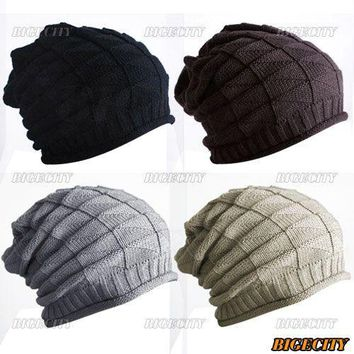 Hot New 2017 Winter Women Men Thick Warm Retro Cable Knitted Gorro Baggy Slouch Beanies Hats Cap Unisex Cheap touca Z1