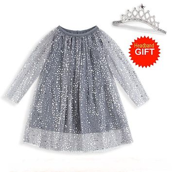 Princess Costume Shining Baby Birthday Dress With Sleeves Girls Tunic Dress Christmas Kids Clothing Robe Fille Children Dresses