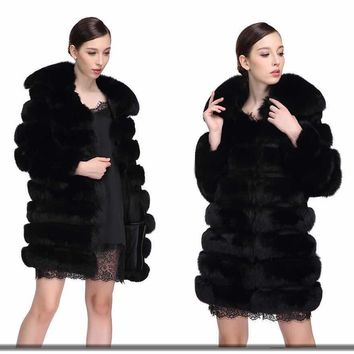 Mink Coats Women Limited Medium Welfurlena 85cm Winter Fox Coat 2017 New Natural Fur Luxury Solid Coats Women Fashion Overcoat