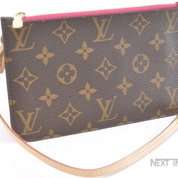 Authentic Louis Vuitton Monogram Neverfull Pouch Purse Clutch PinkLV 43252