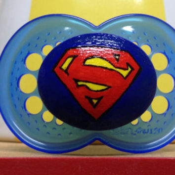 Blue Super Baby on a Blue MAM size 6 plus month - Custom Hand Painted Pacifier
