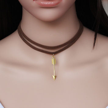 Women's leather velvet Necklace Collarbone Chain a13506